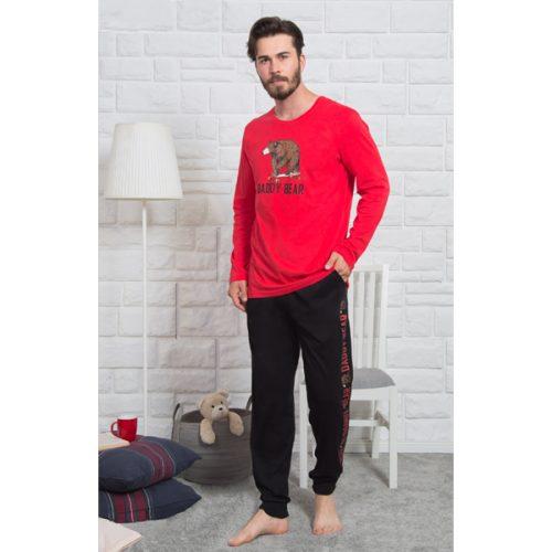 Pánske červené pyžamo s medveďom