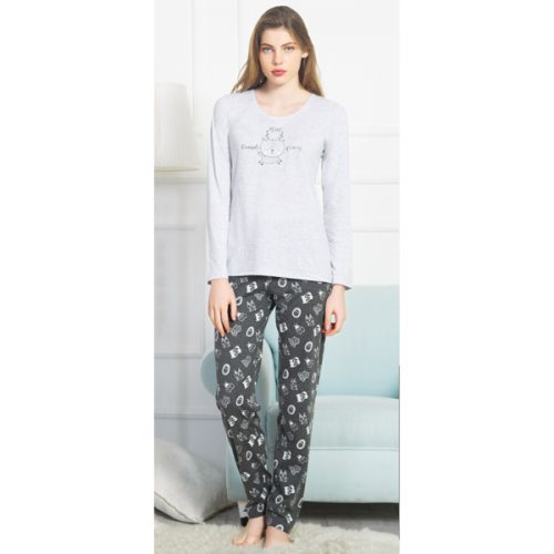 Dámske pyžamko Vienetta svetlo-šedé s jelenčekom