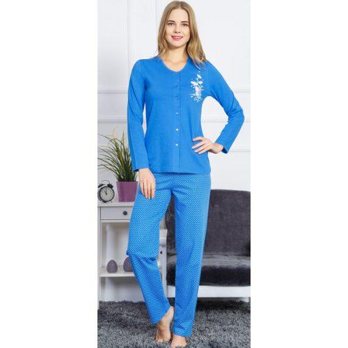 Dámske pyžamo Vienetta modré s gombíkmi