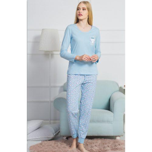 Modré dámske pyžamko Vienetta s bielou mačičkou