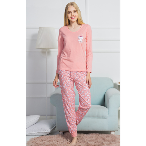 Rúžové dámske pyžamko Vienetta s bielou mačičkou