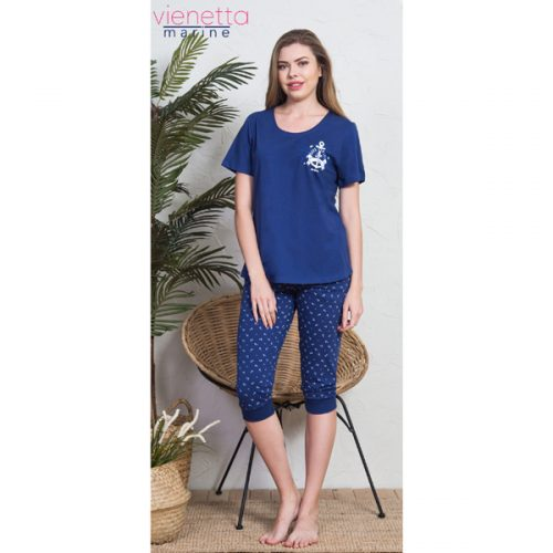 Dámske pyžamo modré kapri